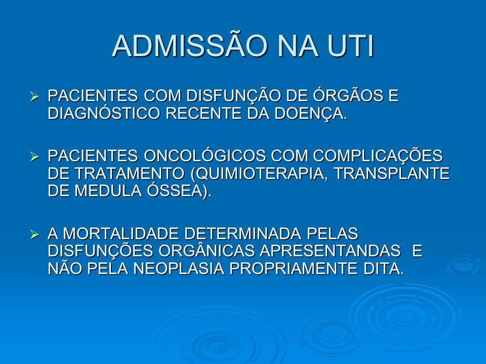 ADMISSÃO NA UTI PACIENTES COM DISFUNÇÃO DE ÓRGÃOS E DIAGNÓSTICO RECENTE DA DOENÇA.