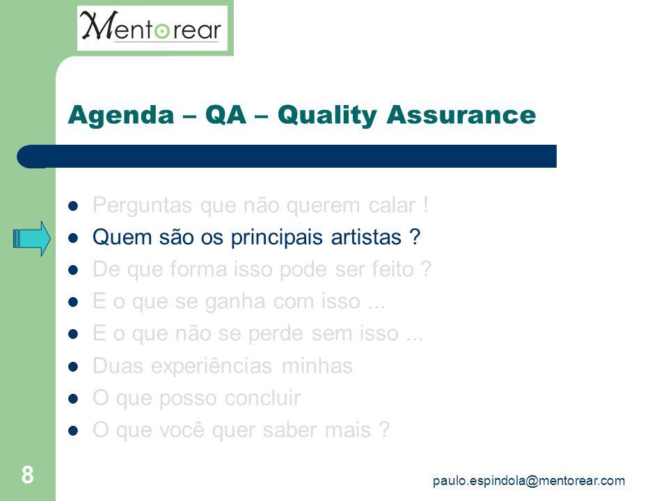 Agenda – QA – Quality Assurance