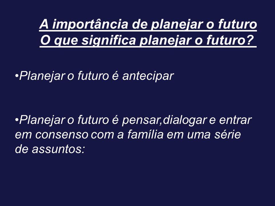 A importância de planejar o futuro O que significa planejar o futuro