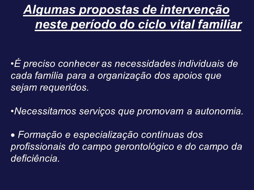 Algumas propostas de intervenção neste período do ciclo vital familiar