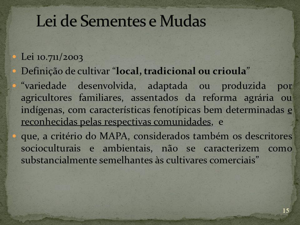 Lei de Sementes e Mudas Lei 10.711/2003