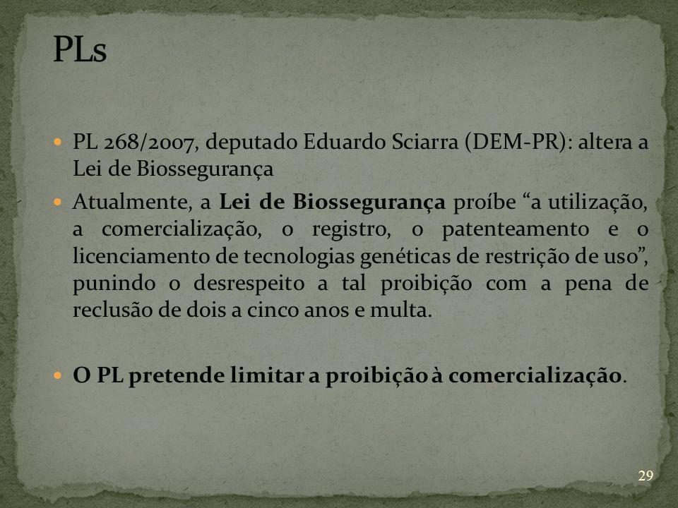 PLs PL 268/2007, deputado Eduardo Sciarra (DEM-PR): altera a Lei de Biossegurança.