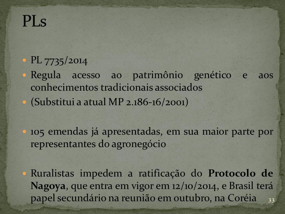 PLs PL 7735/2014. Regula acesso ao patrimônio genético e aos conhecimentos tradicionais associados.