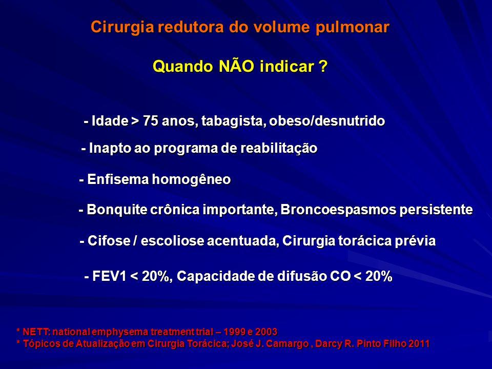 Cirurgia redutora do volume pulmonar Quando NÃO indicar