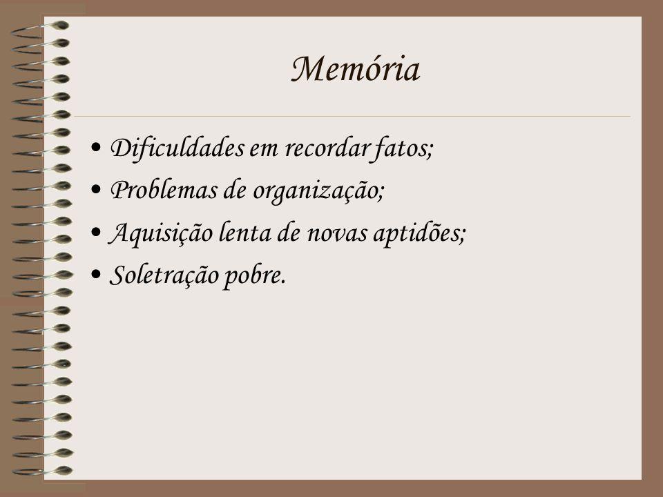 Memória Dificuldades em recordar fatos; Problemas de organização;