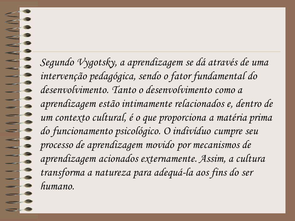Segundo Vygotsky, a aprendizagem se dá através de uma intervenção pedagógica, sendo o fator fundamental do desenvolvimento.