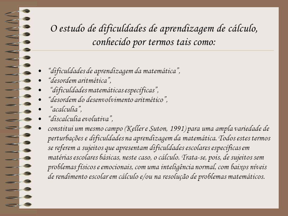 O estudo de dificuldades de aprendizagem de cálculo, conhecido por termos tais como: