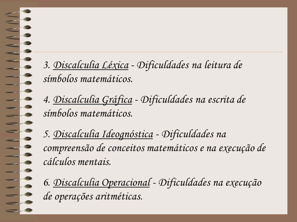 3. Discalculia Léxica - Dificuldades na leitura de símbolos matemáticos.