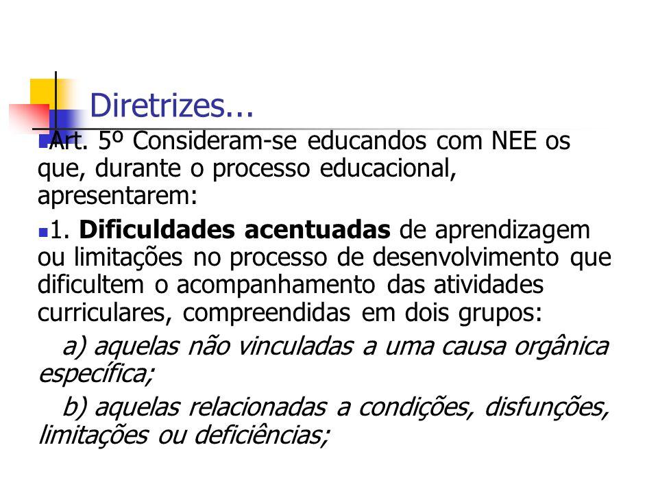 Diretrizes... Art. 5º Consideram-se educandos com NEE os que, durante o processo educacional, apresentarem: