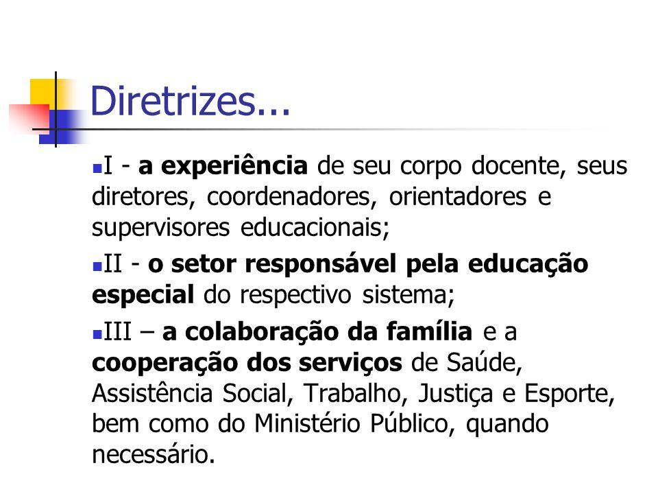 Diretrizes... I - a experiência de seu corpo docente, seus diretores, coordenadores, orientadores e supervisores educacionais;