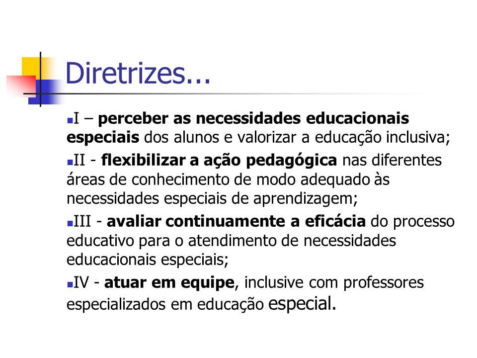 Diretrizes... I – perceber as necessidades educacionais especiais dos alunos e valorizar a educação inclusiva;