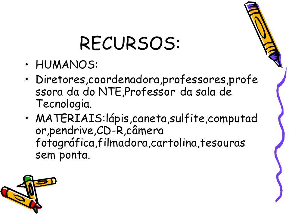 RECURSOS: HUMANOS: Diretores,coordenadora,professores,professora da do NTE,Professor da sala de Tecnologia.