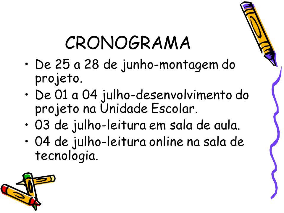 CRONOGRAMA De 25 a 28 de junho-montagem do projeto.
