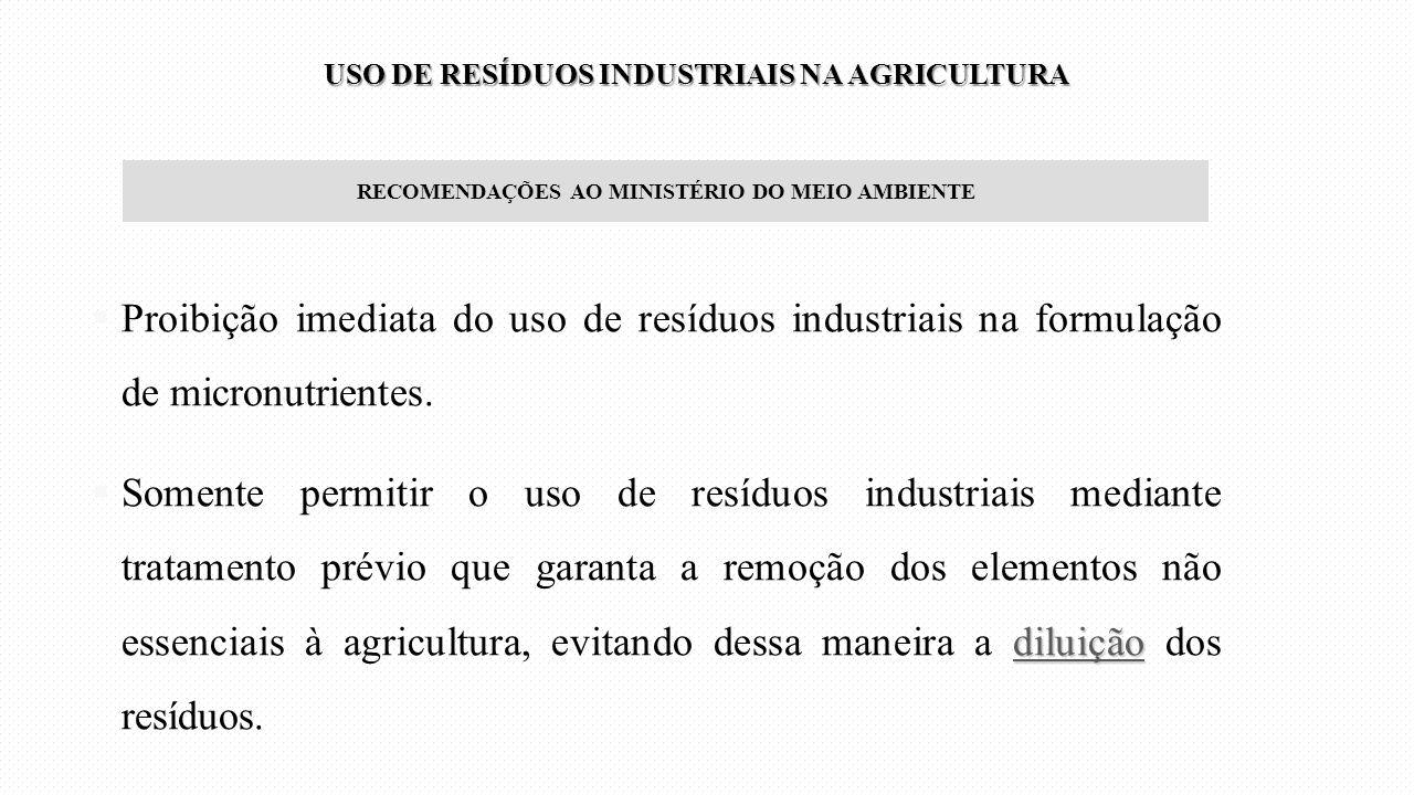 RECOMENDAÇÕES AO MINISTÉRIO DO MEIO AMBIENTE