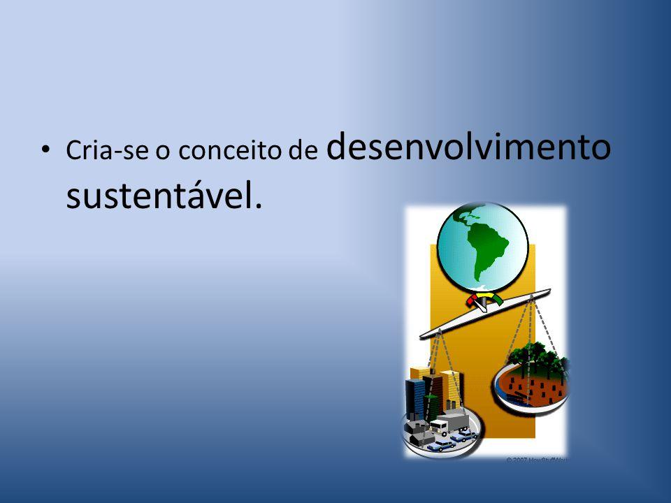 Cria-se o conceito de desenvolvimento sustentável.