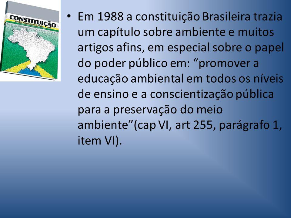 Em 1988 a constituição Brasileira trazia um capítulo sobre ambiente e muitos artigos afins, em especial sobre o papel do poder público em: promover a educação ambiental em todos os níveis de ensino e a conscientização pública para a preservação do meio ambiente (cap VI, art 255, parágrafo 1, item VI).