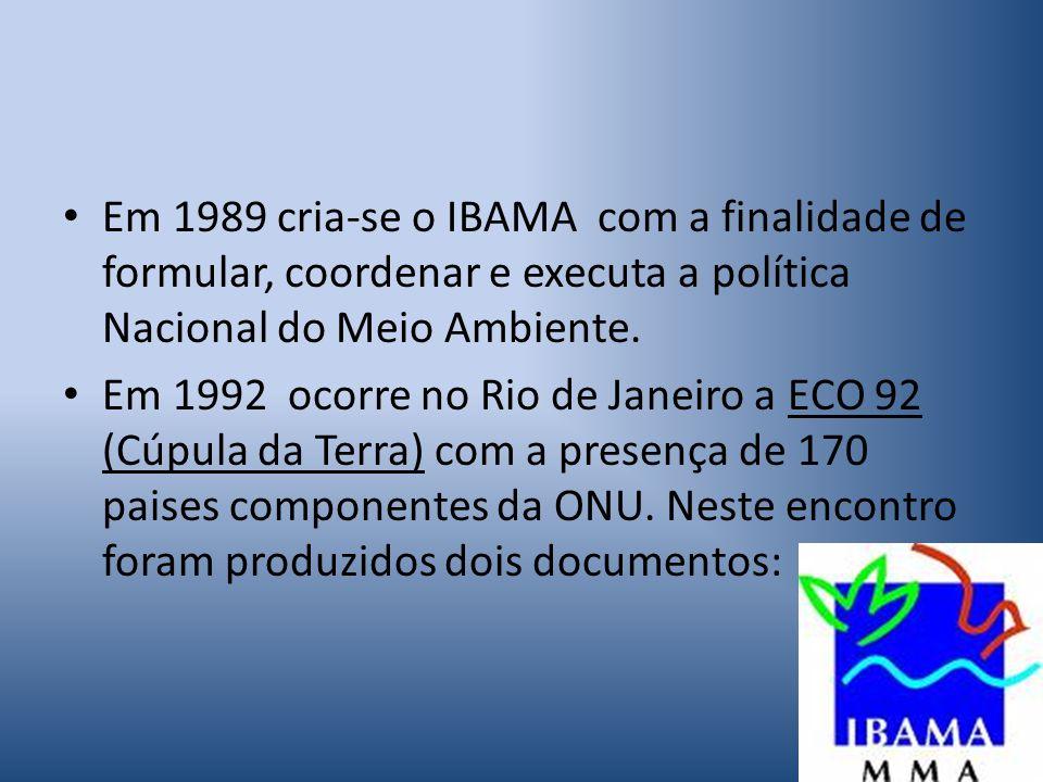 Em 1989 cria-se o IBAMA com a finalidade de formular, coordenar e executa a política Nacional do Meio Ambiente.