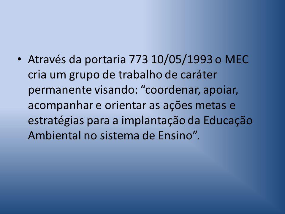 Através da portaria 773 10/05/1993 o MEC cria um grupo de trabalho de caráter permanente visando: coordenar, apoiar, acompanhar e orientar as ações metas e estratégias para a implantação da Educação Ambiental no sistema de Ensino .