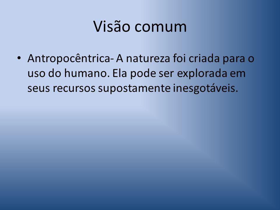 Visão comum Antropocêntrica- A natureza foi criada para o uso do humano.