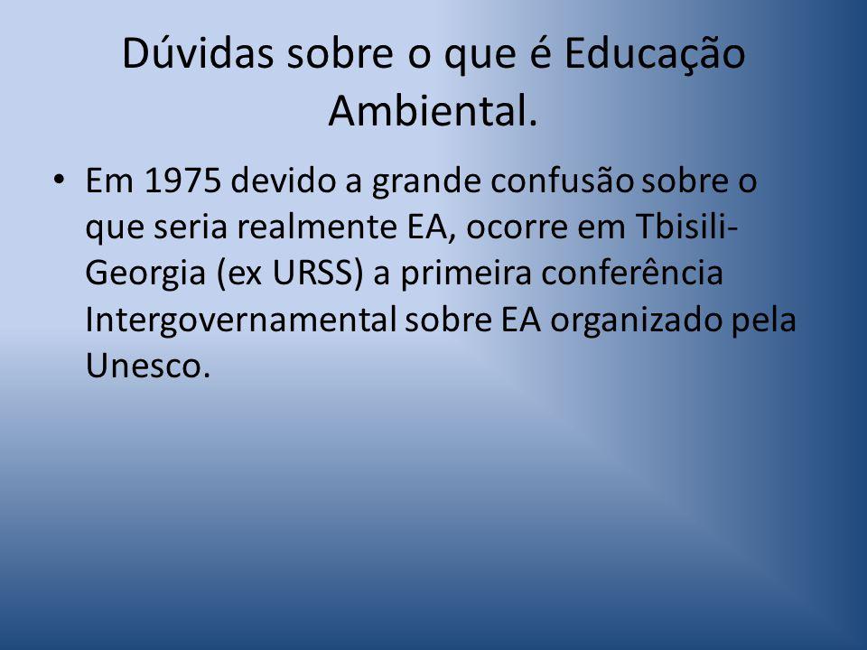 Dúvidas sobre o que é Educação Ambiental.