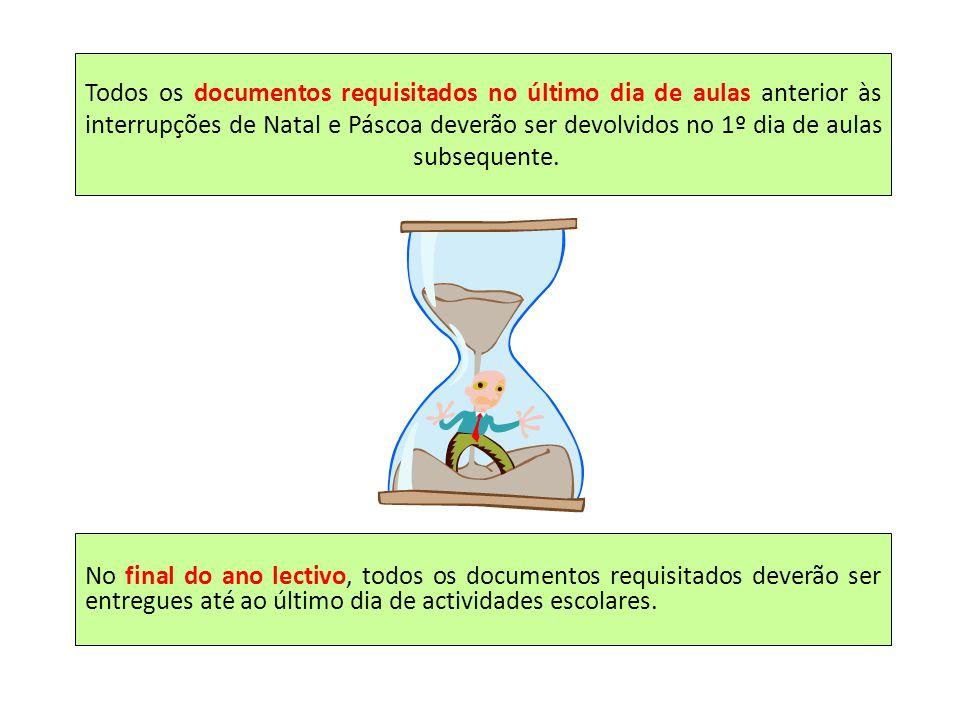 Todos os documentos requisitados no último dia de aulas anterior às interrupções de Natal e Páscoa deverão ser devolvidos no 1º dia de aulas subsequente.