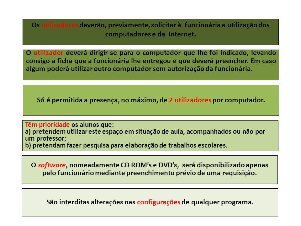 São interditas alterações nas configurações de qualquer programa.