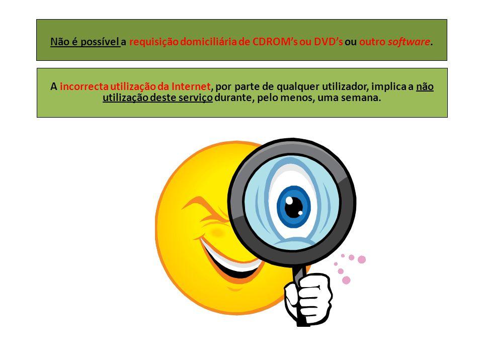 Não é possível a requisição domiciliária de CDROM's ou DVD's ou outro software.