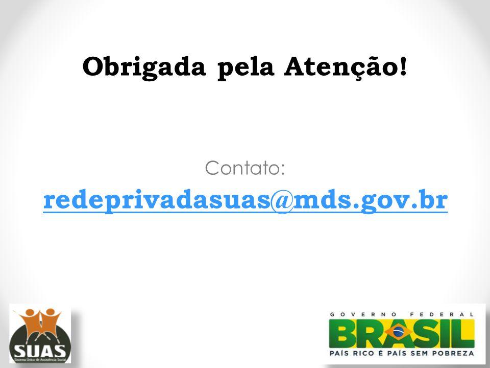 Obrigada pela Atenção! redeprivadasuas@mds.gov.br