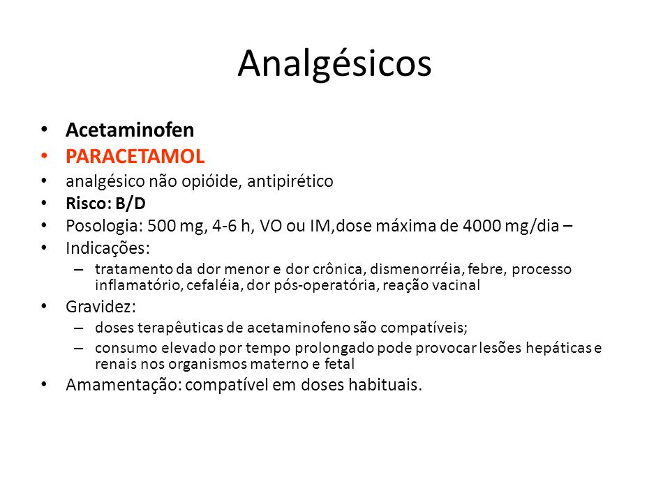 Analgésicos Acetaminofen PARACETAMOL