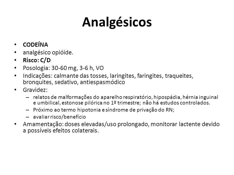 Analgésicos CODEÍNA analgésico opióide. Risco: C/D