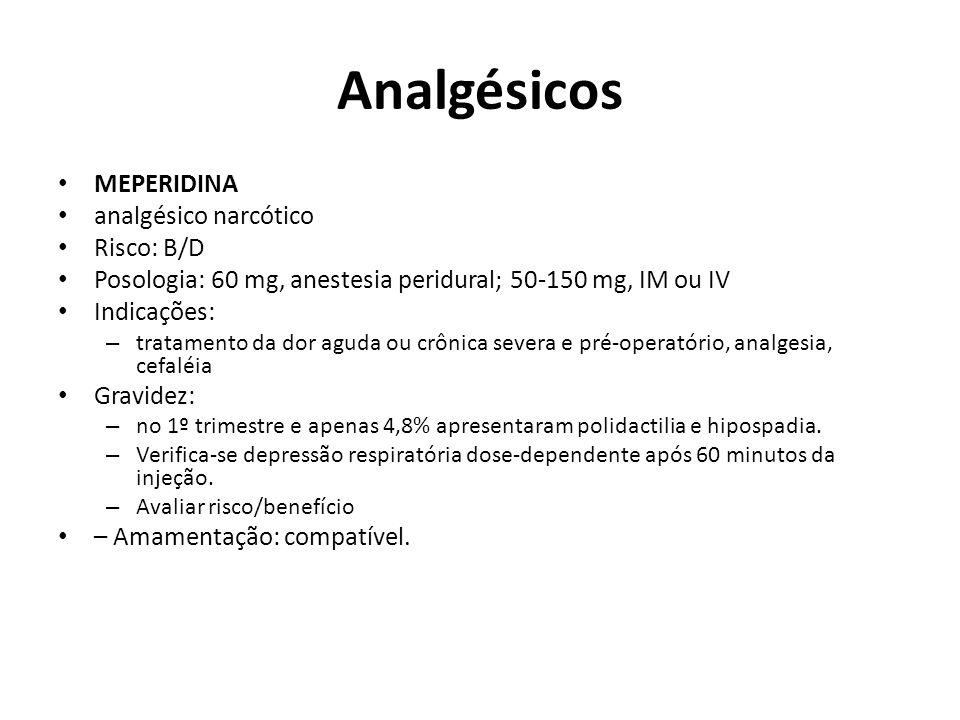 Analgésicos MEPERIDINA analgésico narcótico Risco: B/D
