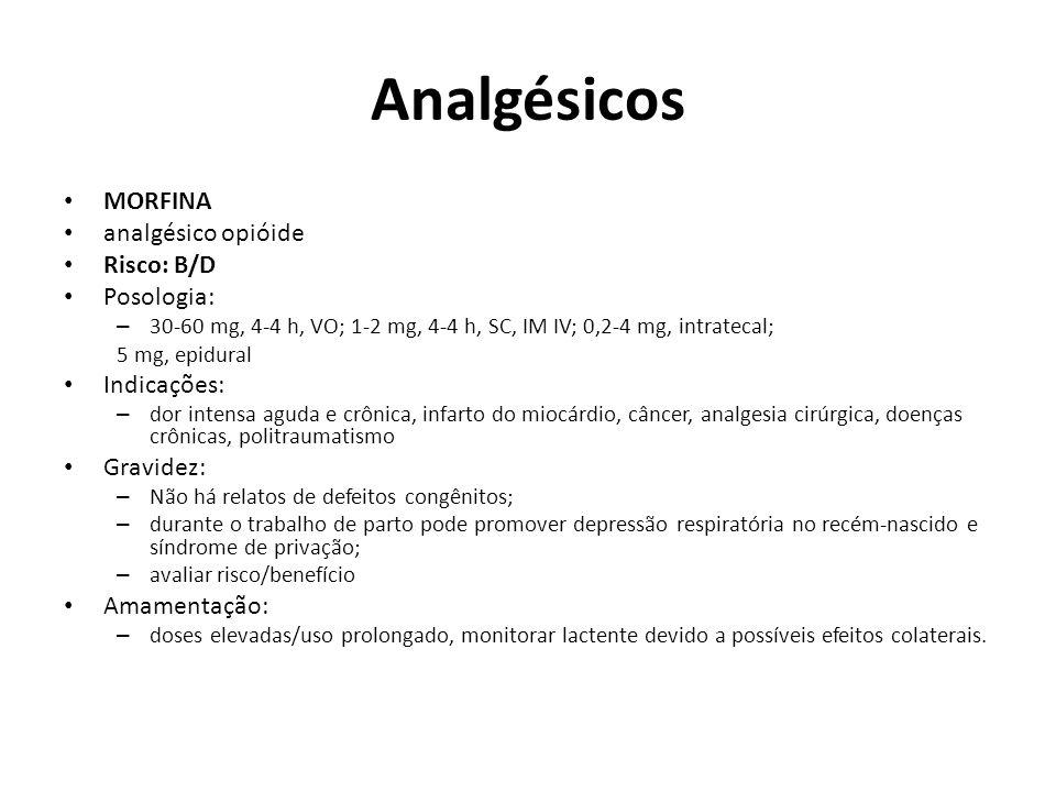Analgésicos MORFINA analgésico opióide Risco: B/D Posologia: