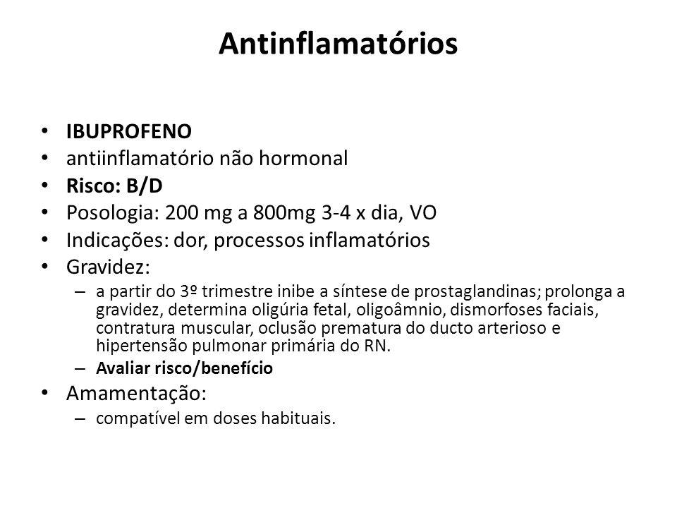 Antinflamatórios IBUPROFENO antiinflamatório não hormonal Risco: B/D