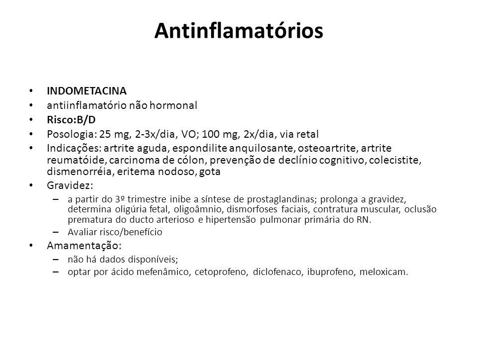 Antinflamatórios INDOMETACINA antiinflamatório não hormonal Risco:B/D