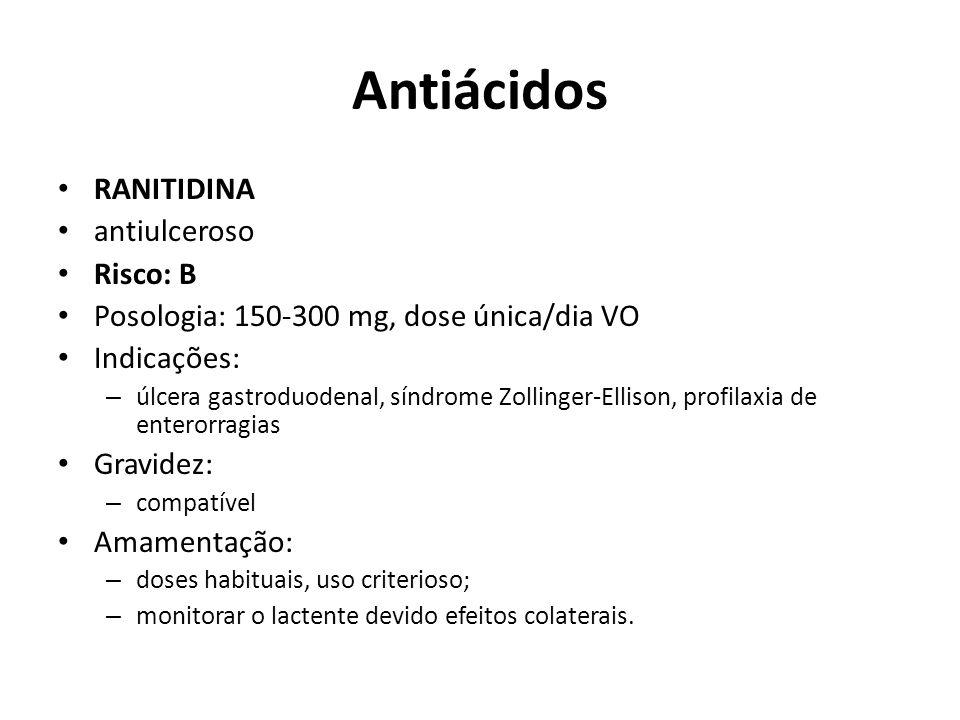Antiácidos RANITIDINA antiulceroso Risco: B