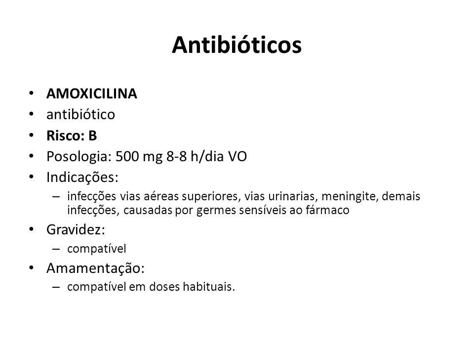 Antibióticos AMOXICILINA antibiótico Risco: B