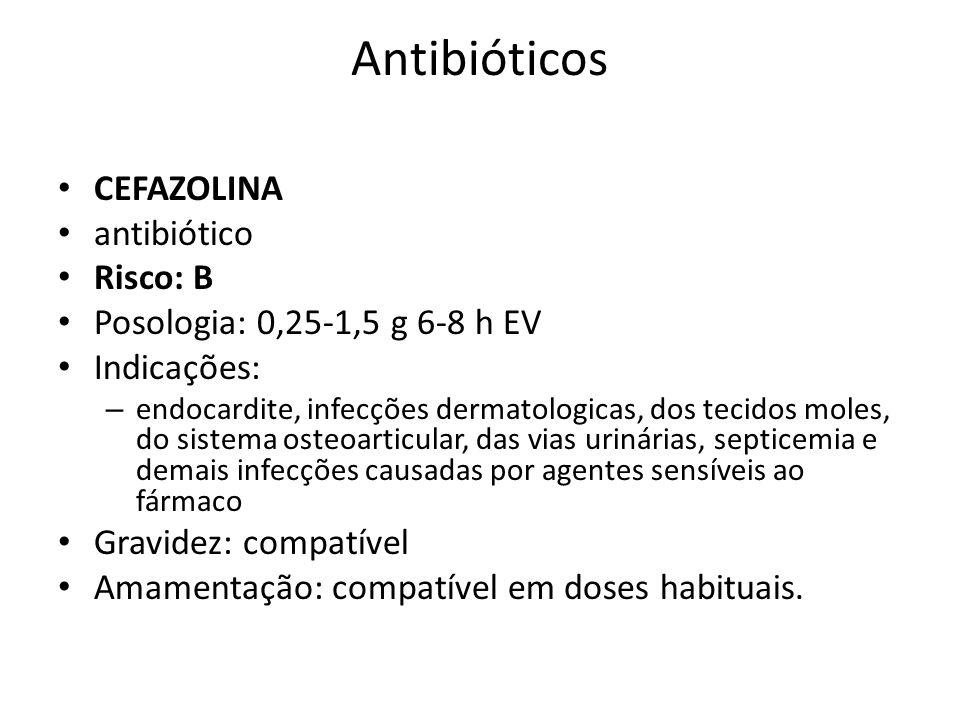 Antibióticos CEFAZOLINA antibiótico Risco: B
