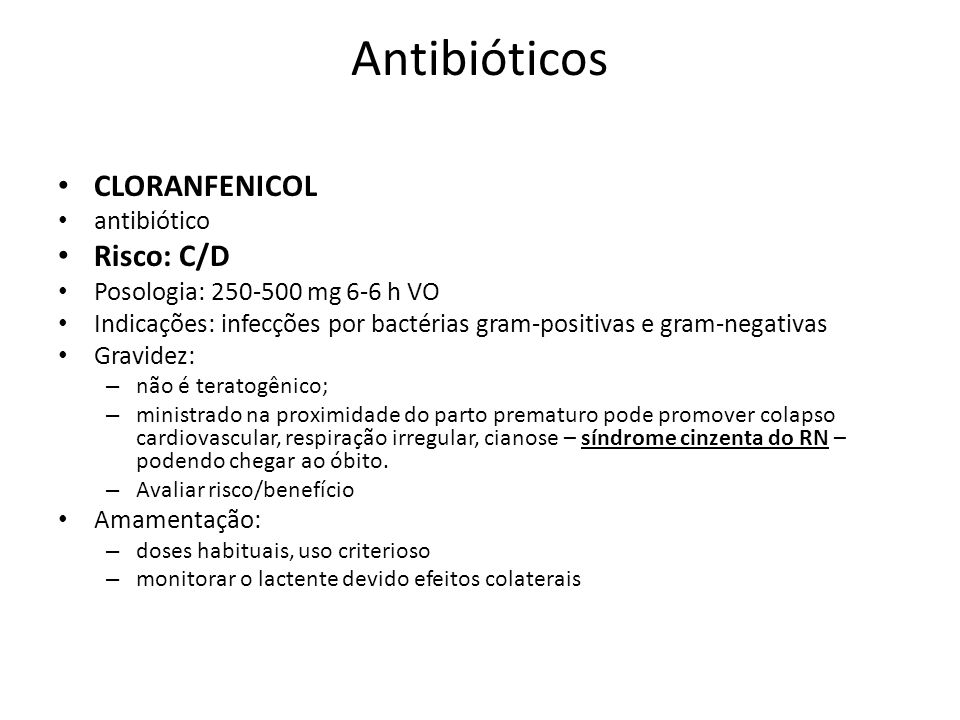 Antibióticos CLORANFENICOL Risco: C/D antibiótico