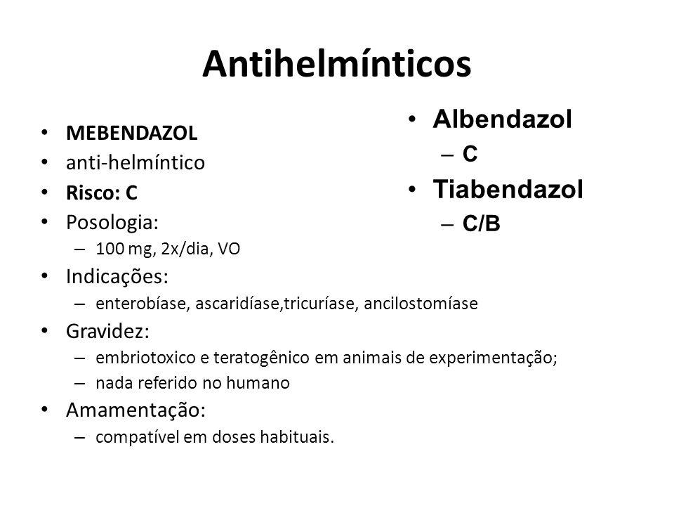 Antihelmínticos Albendazol Tiabendazol C MEBENDAZOL anti-helmíntico