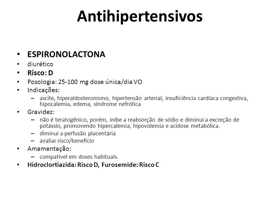 Antihipertensivos ESPIRONOLACTONA Risco: D diurético