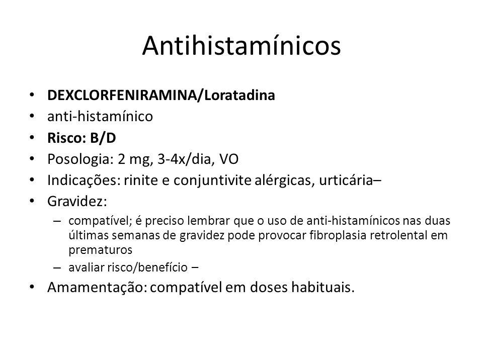 Antihistamínicos DEXCLORFENIRAMINA/Loratadina anti-histamínico