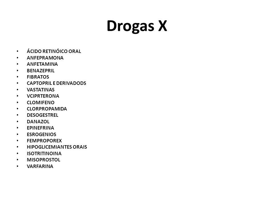 Drogas X ÁCIDO RETINÓICO ORAL ANFEPRAMONA ANFETAMINA BENAZEPRIL