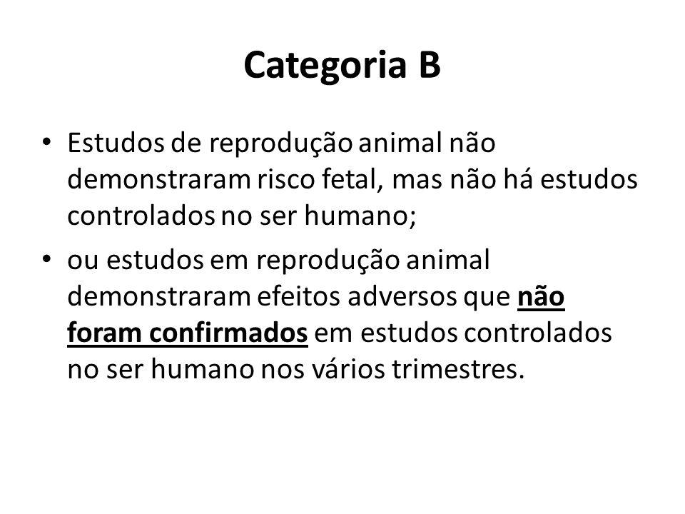 Categoria B Estudos de reprodução animal não demonstraram risco fetal, mas não há estudos controlados no ser humano;