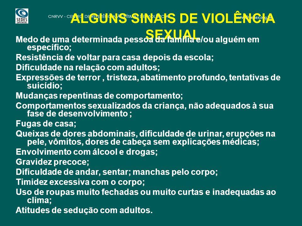ALGUNS SINAIS DE VIOLÊNCIA SEXUAL