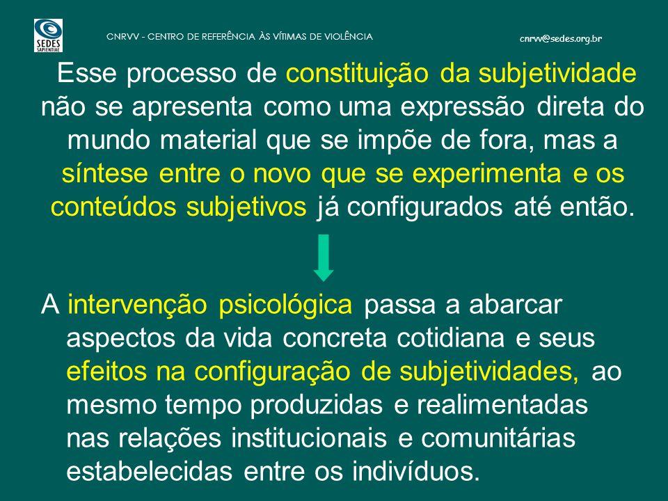 Esse processo de constituição da subjetividade não se apresenta como uma expressão direta do mundo material que se impõe de fora, mas a síntese entre o novo que se experimenta e os conteúdos subjetivos já configurados até então.