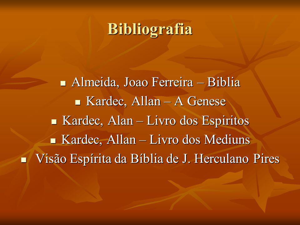 Bibliografia Almeida, Joao Ferreira – Biblia Kardec, Allan – A Genese