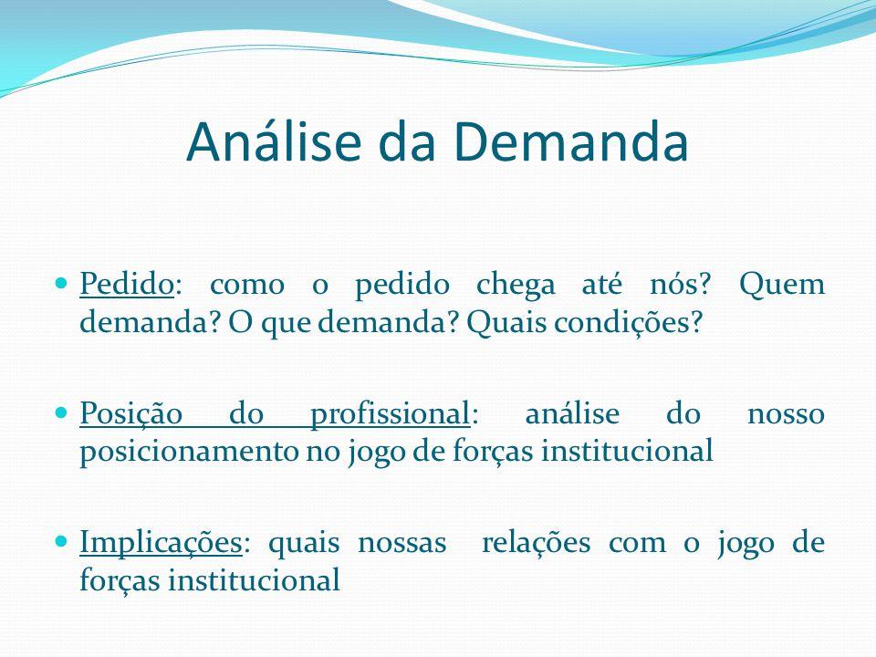Análise da Demanda Pedido: como o pedido chega até nós Quem demanda O que demanda Quais condições