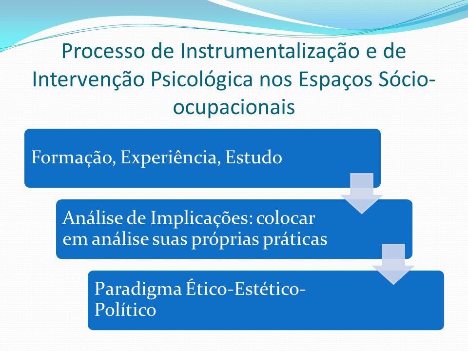 Processo de Instrumentalização e de Intervenção Psicológica nos Espaços Sócio-ocupacionais