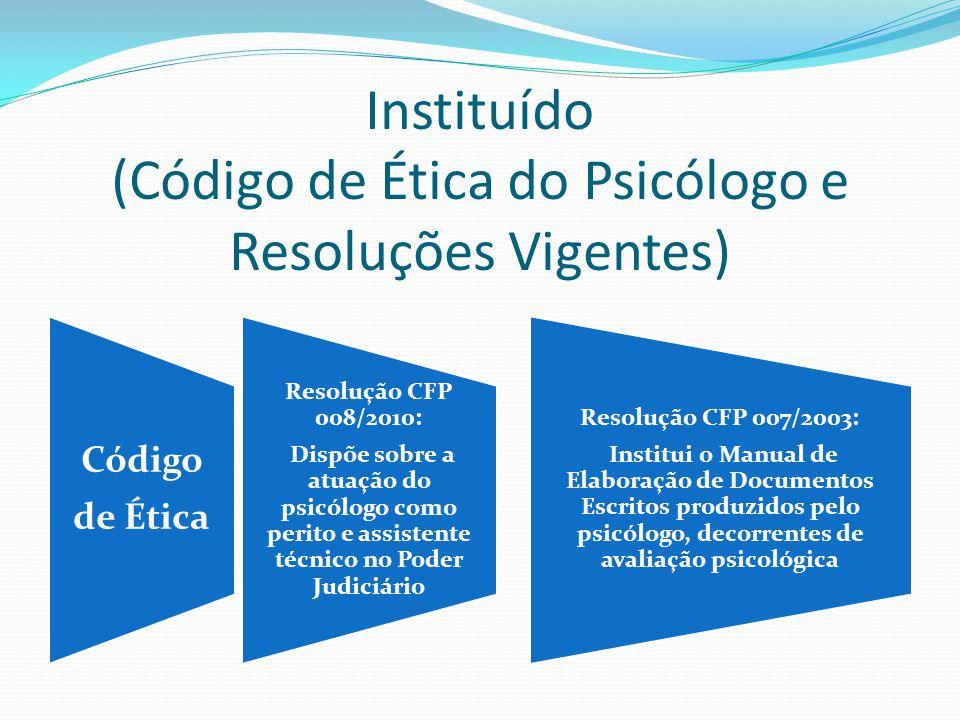 Instituído (Código de Ética do Psicólogo e Resoluções Vigentes)