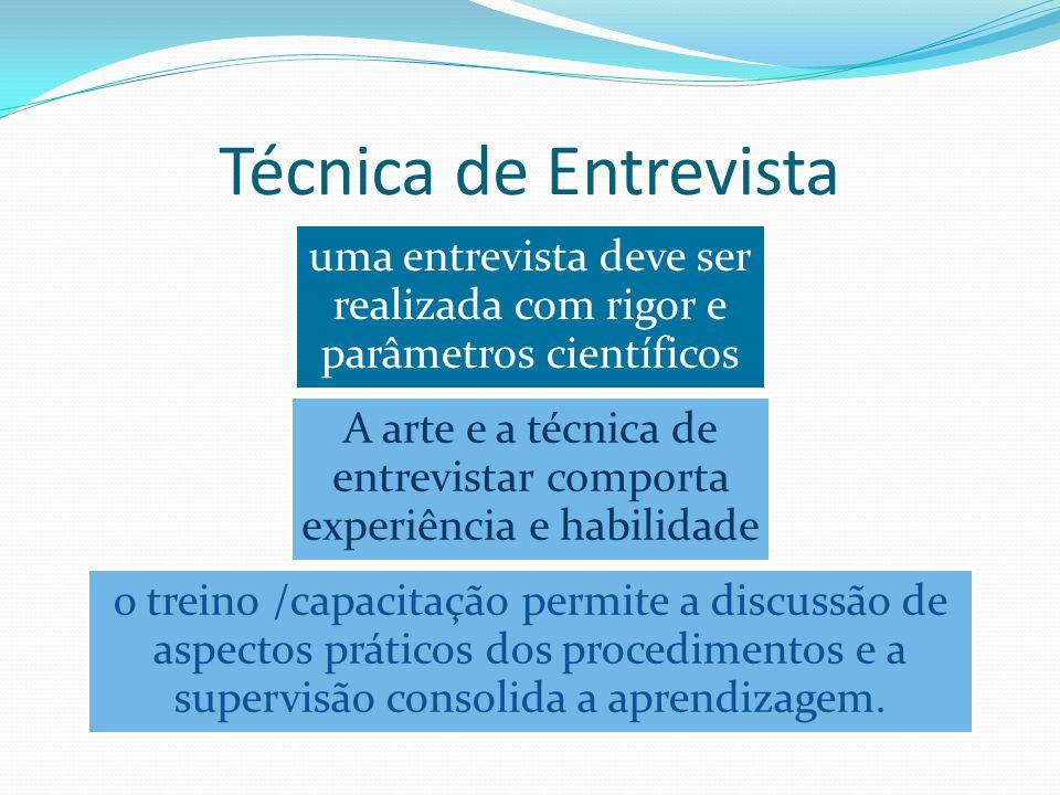 Técnica de Entrevista uma entrevista deve ser realizada com rigor e parâmetros científicos.